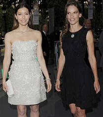 Jessica Biel ve Hilary Swank`ın Tiffany şıklığı