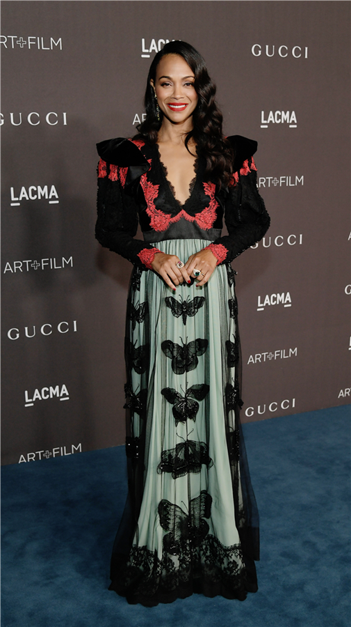 Zoe Saldana - 2019 LACMA Art + Film Gala'nın Öne Çıkan Stil Görünümleri