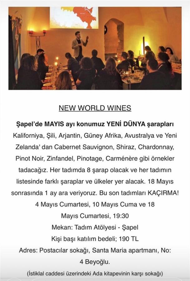Şapel'de Mayıs Ayı Konusu: Yeni Dünya Şarapları - Şapel'de Mayıs Ayı Konusu: Yeni Dünya Şarapları