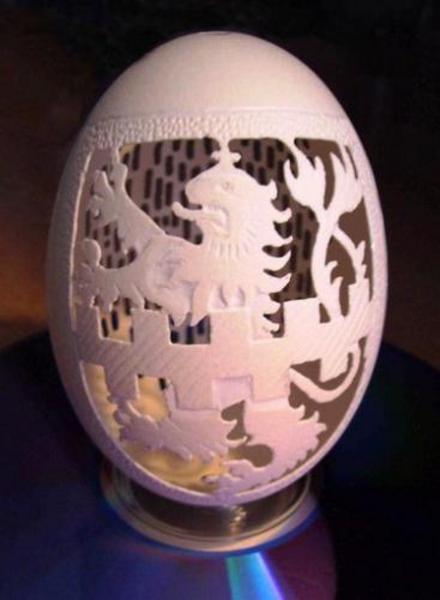 aslan-desenli-yumurta-kabugu - Yumurta kabuğundan sanat eseri